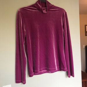 Velvet turtleneck pink medium lands end